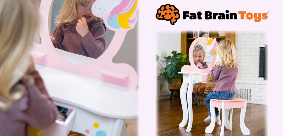 best three-year old girl gifts Fat Brain Toys Unicorn Magic Vanity
