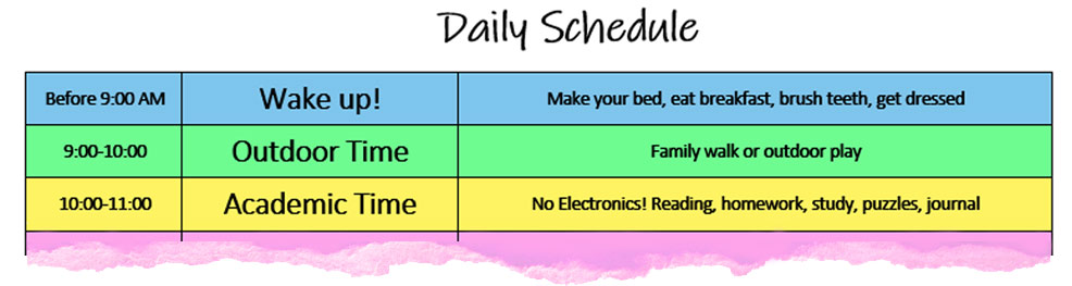 daily schedule for kids at home