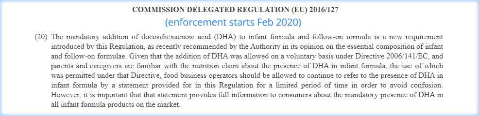 european baby formulas omega 3 dha requirement law
