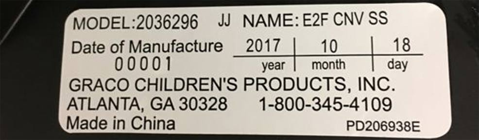 car seat expiration date graco example