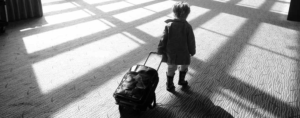 child travel airport safety luggage