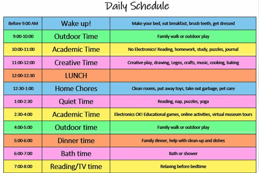 Modify and Print our Daily Schedule for Kids